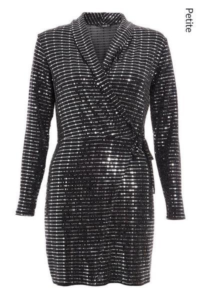 Petite Black and Gunmetal Long Sleeve Wrap Dress